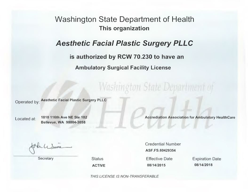 Ambulatory Surgical Facility License - Aesthetic Facial Body Plastic Surgery